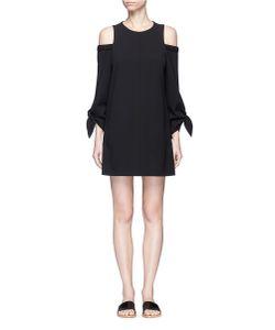 Tibi   Tie Sleeve Cold Shoulder Crepe Dress