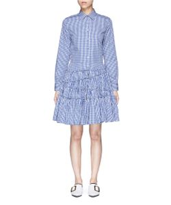 Jourden | Gingham Check Asymmetric Tiered Shirt Dress