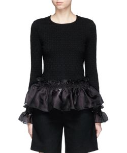 Opening Ceremony   Organdy Ruffle Floral Jacquard Top