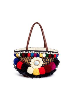 Figue | Zena Tuk Tuk Pompom And Ethnic Coin Canvas Tote