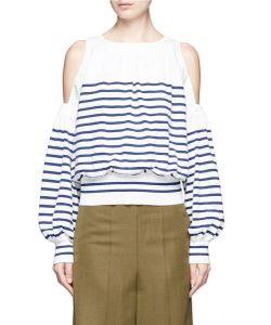 Sacai   Stripe Cotton-Cashmere Cold Shoulder Sweater