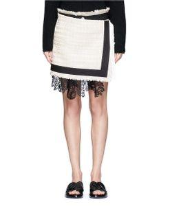 Sacai   Guipure Lace Summer Tweed Mock Wrap Skirt