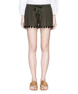 Figue   Maja Pompom Woven Silk Shorts