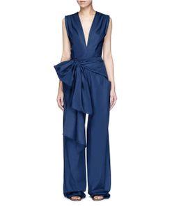 Tome | Oversized Tie Bow Cotton Jumpsuit