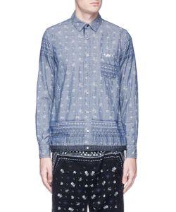 Sacai   Pineapple Jacquard Drawstring Hem Chambray Shirt