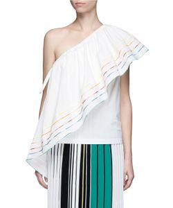 Rosie Assoulin | Wedge Rainbow Ruffle Poplin One-Shoulder Top