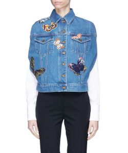 Valentino | Beaded Butterfly Patch Denim Cape