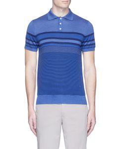 Isaia | Stripe Silk-Cotton Knit Polo Shirt