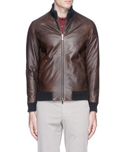 Isaia | Reversible Padded Leather Jacket