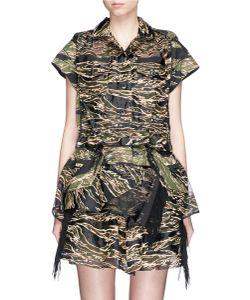 Sacai | Camouflage Embroidered Organza Drawstring Dress