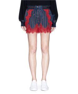 Sacai | Lace Trim Stripe Cupro Drawstring Shorts