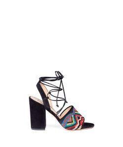 Valentino | Native Couture Beaded Suede Lace-Up Sandals