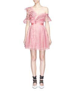 Self-Portrait | Asymmetric Frill Guipure Lace One-Shoulder Mini Dress