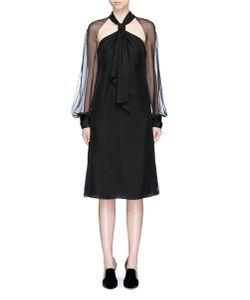 Lanvin | Halterneck Chiffon And Crepe De Chine Dress