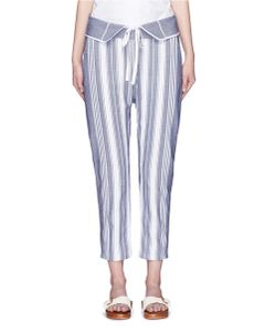 Koza | Brooke Fold-Down Waist Pinstripe Cropped Pants