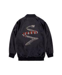 Jay Ahr | Snake Embellished Unisex Silk Satin Bomber Jacket