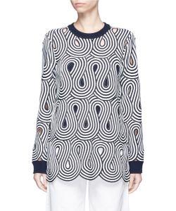 Victoria, Victoria Beckham | Swirl Stripe Cutout Sweater
