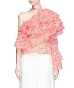 Rosie Assoulin | Cork Screw Print Ruffle One-Shoulder Top