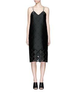 Pringle Of Scotland   Diamond Fil Coupé Leather Cord Eyelet Dress