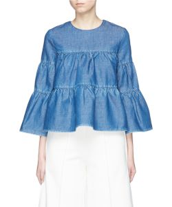 Co | Bell Sleeve Ruffle Denim Blouse