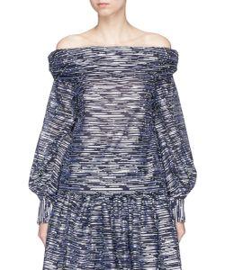 Jourden | Glint Stripe Fil Coupé Off-Shoulder Top