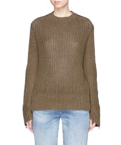 Bassike | Twill Patch Chunky Rib Knit Military Sweater