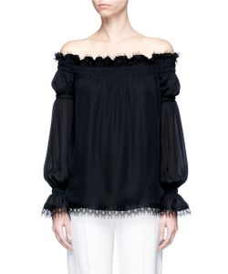 Oscar de la Renta | Lace Trim Off-Shoulder Silk Georgette Top