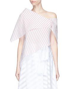 Rosie Assoulin | Robert Morris Stripe Asymmetric Tiered Seersucker Top