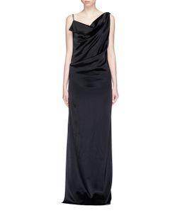 Lanvin | Open Back Asymmetric Drape Satin Dress