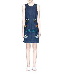 Victoria, Victoria Beckham | Okinawa Motif Embroidered Denim Shift Dress