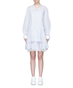 Sacai   Ruffle Lace Hem Stripe Pyjama Dress