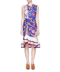 Emilio Pucci | Ranuncoli Stripe Hem Ruched Waist Silk Dress