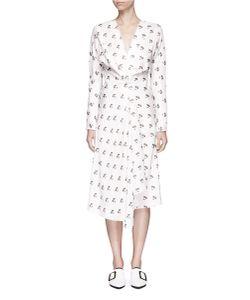 Victoria Beckham | Daisy Print Drape Mock Wrap Dress