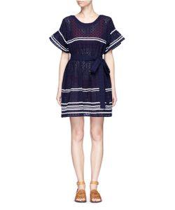 Lisa Marie Fernandez   Fiesta Zigzag Stripe Eyelet Cotton Lace Dress