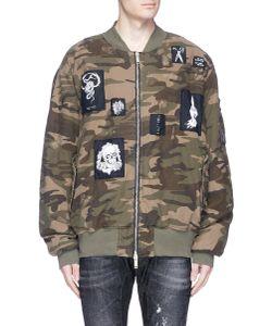 Unravel | Skull Appliqué Camouflage Padded Bomber Jacket