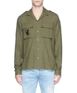 Amiri   Military Patch Cotton-Cashmere Herringbone Shirt