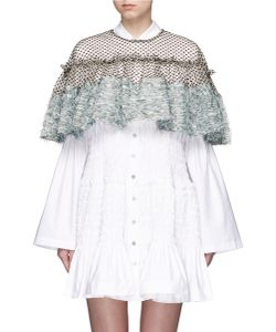 Jourden | Frayed Gauze Dot Embroidered Tulle Cape