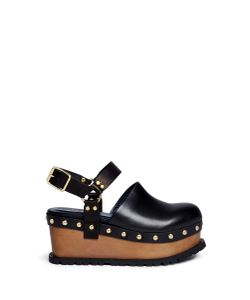 Sacai | Wooden Wedge Stud Leather Clogs