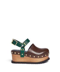 Sacai | Wooden Wedge Stud Colourblock Leather Clogs