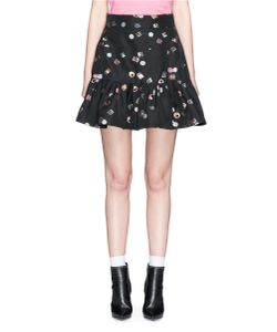 Marc Jacobs | Licorice Lamé Jacquard Peplum Mini Skirt
