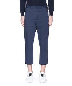 Ports | Contrast Outseam Cropped Cotton-Linen Pants