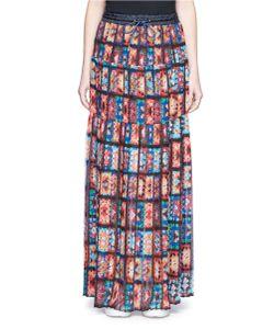 Sacai   Print Chiffon Maxi Skirt
