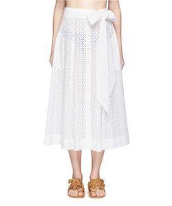 Lisa Marie Fernandez   Belted Eyelet Lace Midi Skirt