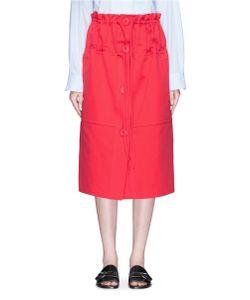Ports | Drawstring Cotton-Silk Twill Skirt