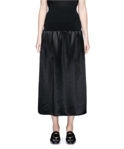 MS MIN | Rib Knit Waist Satin Midi Skirt