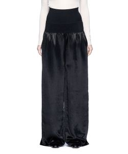 MS MIN | Rib Knit Waist Wide Leg Satin Pants