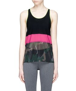 Monreal London | Camouflage Print Mesh And Jersey Performance Racerback Tank Top
