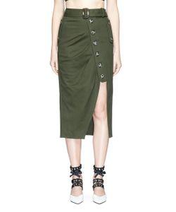 Self-Portrait | Asymmetric Button Pleated Twill Midi Skirt