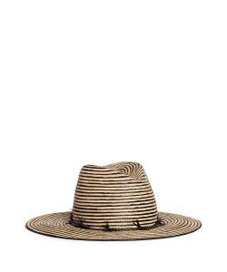 Gigi Burris Millinery | Jeanne Feather Trim Stripe Straw Hat