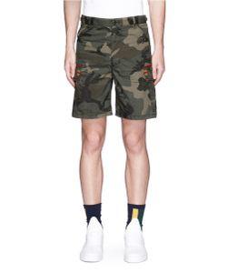 Facetasm   Camouflage Print Stripe Rib Trim Cargo Shorts